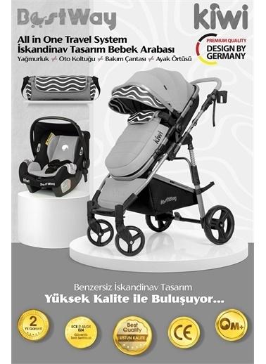 Kiwi BestWay All in One Travel Sistem İskandinav Tasarım Bebek Arabası, Oto Koltuğu, Bakım Çantası Vizon